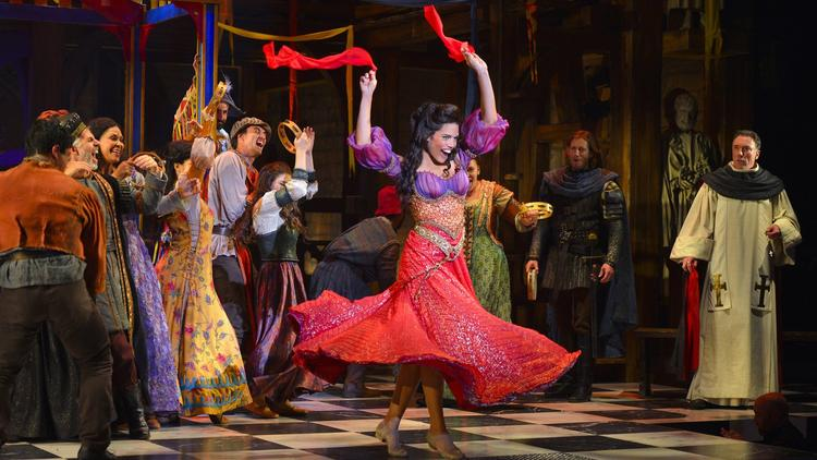 "Ciara Renee as Esmeralda and the cast of ""The Hunchback of Notre Dame"" at the La Jolla Playhouse.-Kevin Berne"