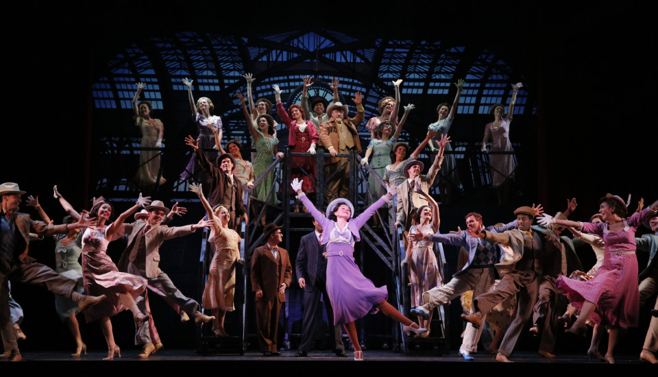 The company of 42nd Street featuring Caitlin Ehlinger as Peggy Sawyer